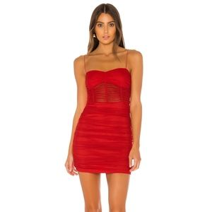 Superdown Holiday Tulle ruched Red mini dress